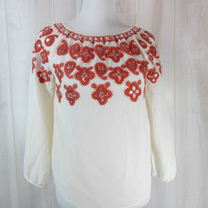 Tory Burch Ivory Orange Embellished Top